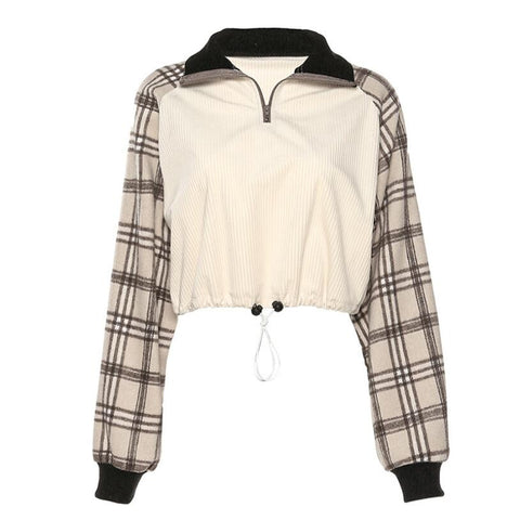 PLAID SLEEVE ZIPPER JACKET