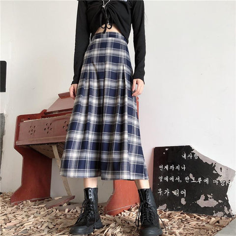 RETRO PLAID MIDI SKIRT