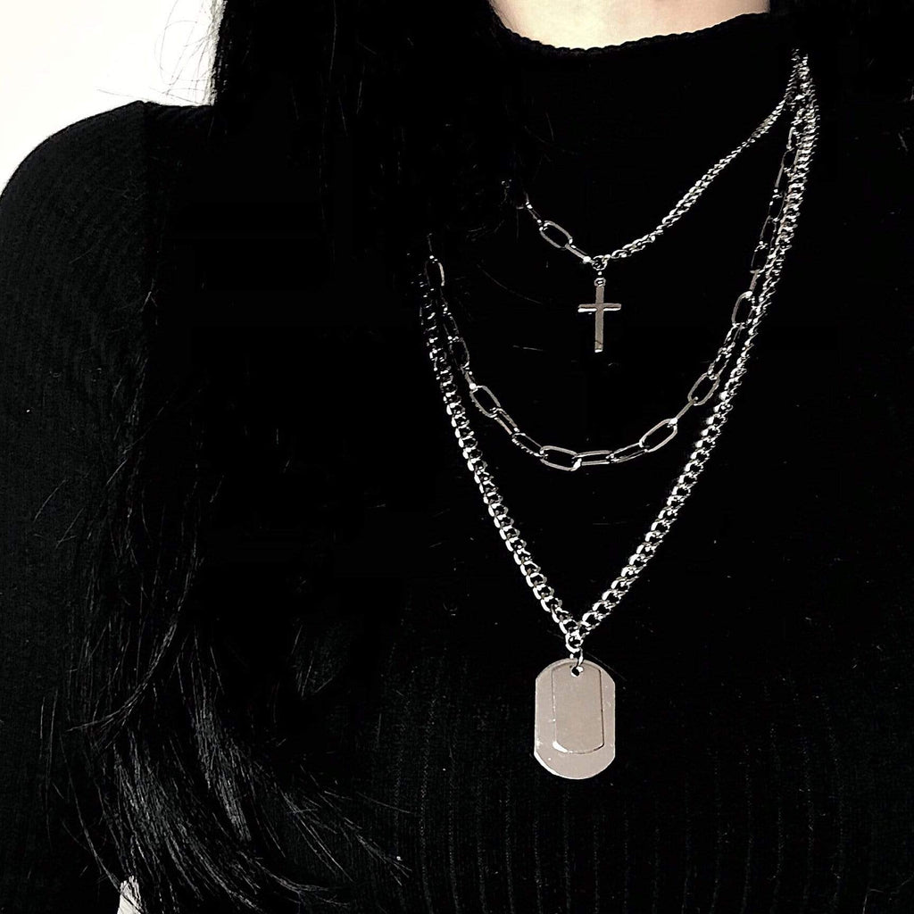 HIP HOP CROSS LAYERED NECKLACE