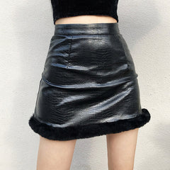 FAUX FUR LEATHER MINI SKIRT