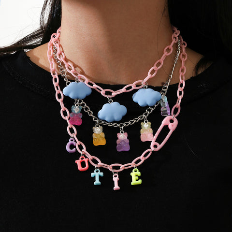 BEAR CLOUD CUTIE LETTER PENDANT THREE LAYER NECKLACE
