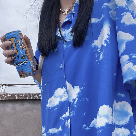 BLUE SKY AND WHITE CLOUD PRINT SHIRT