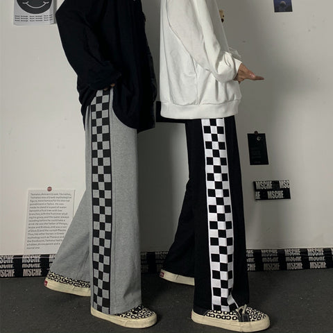 CHECKERBOARD PLAID WIDE LEG CASUAL PANTS