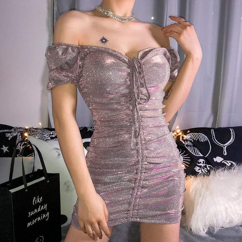 SEXY BLING V-NECK DRESS