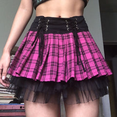 PLAID LACE MESH TIE-UP PLEATED SKIRT