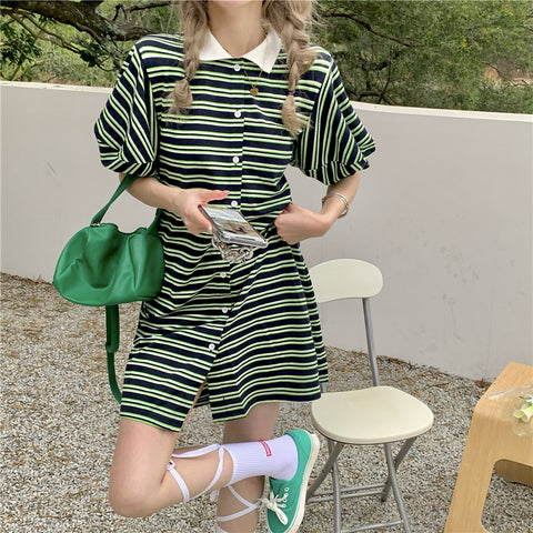 STRIPED BUTTON POLO COLLAR PUFF SLEEVE DRESS