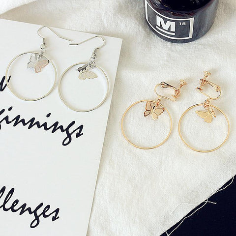 BUTTERFLY CIRCLE GEOMETRIC EARRINGS (2pairs)