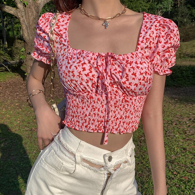 BUTTERFLY RUCHED CROP TOP