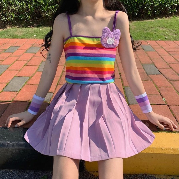 RAINBOW SLING VEST & PURPLE SKIRT