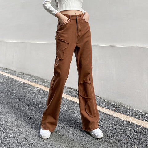 FLOWER STITCHING STRAIGHT PANTS