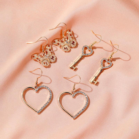 RHINESTONE STATEMENT EARRINGS (3pairs)