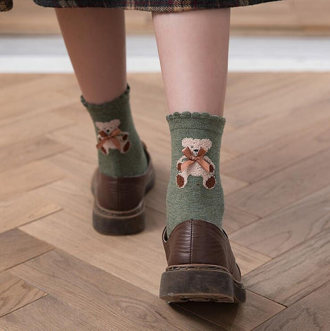 CARTOON BOW BEAR SOCKS
