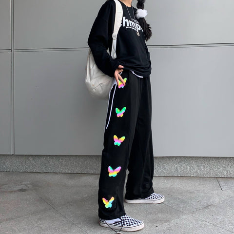 SIDE REFLECTIVE BUTTERFLY PRINT CASUAL PANTS