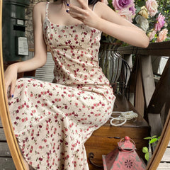 FISHTAIL FLORAL SLING LONG DRESS
