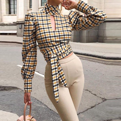 BACKLESS PLAID LONG SLEEVE TOP