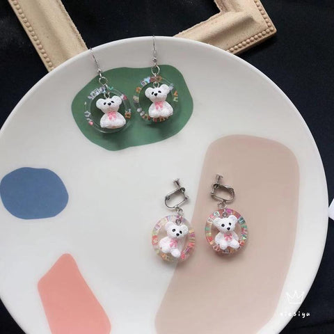 KAWAII ROUND BEAR EARRINGS