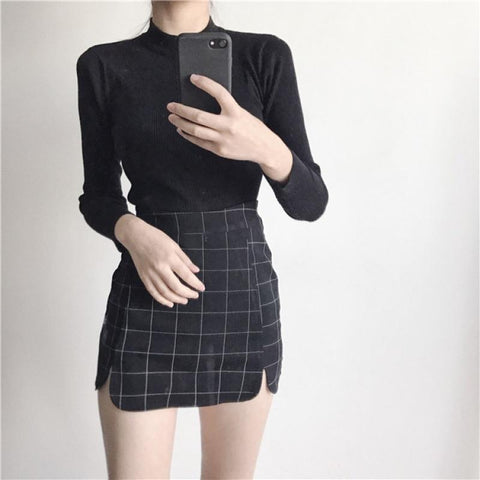 MONOCHROME GRID SKIRT