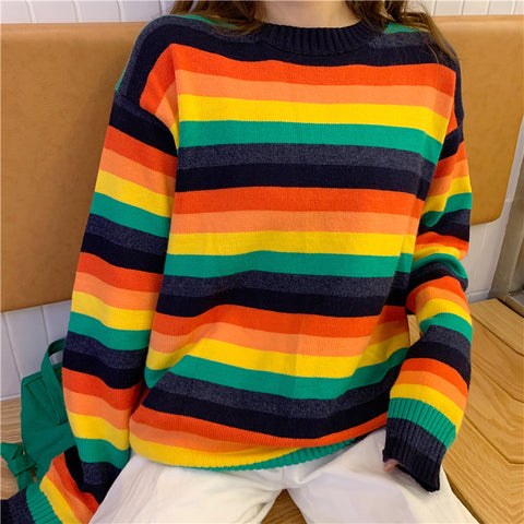 RAINBOW STRIPES PULLOVER SWEATER