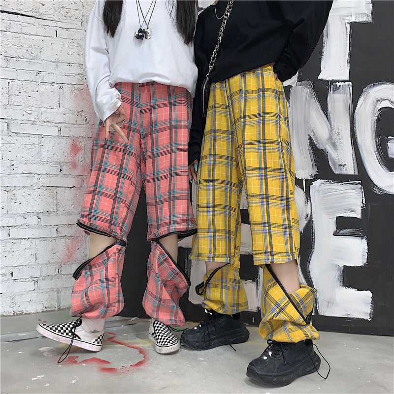 PLAID REMOVABLE TWO-PIECE CASUAL PANTS