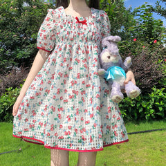 STRAWBERRY PLAID PUFF SLEEVE DRESS