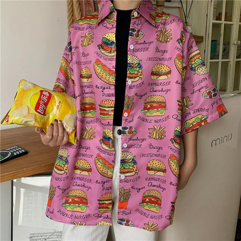 BURGER FRIES PRINT SHIRT