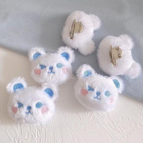 KAWAII POLAR BEAR PLUSH PIN (SET/2PCS)