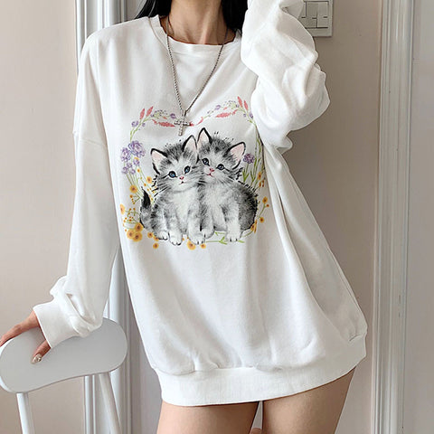 CUTE CATS PRINT PULLOVER SWEATER