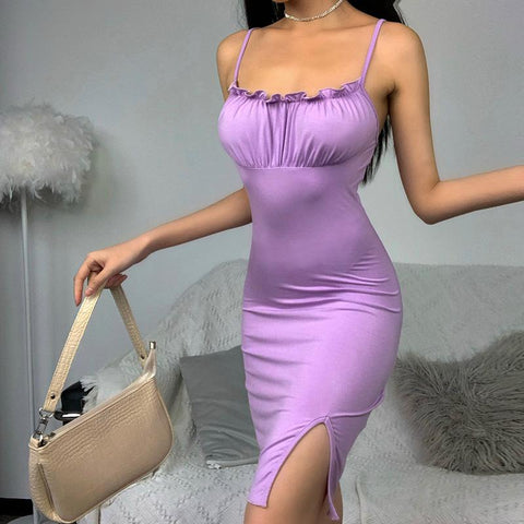 PURPLE PLEATED STRAPLESS SPLIT DRESS