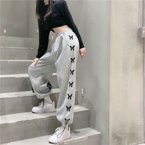 SIDE BUTTERFLY HIGH WAIST SWEATPANTS