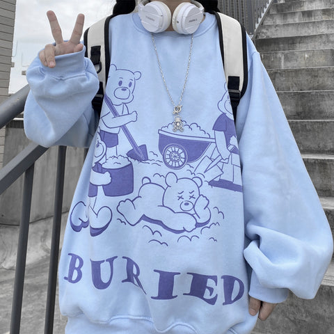 BURIED BEAR PRINT PULLOVER SWEATER
