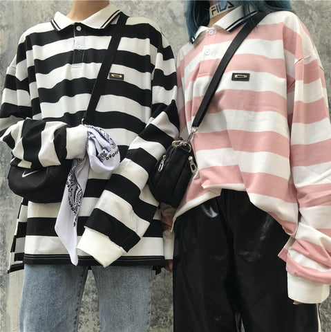 STRIPED POLO COLLAR SPLIT LONG SLEEVE T-SHIRT