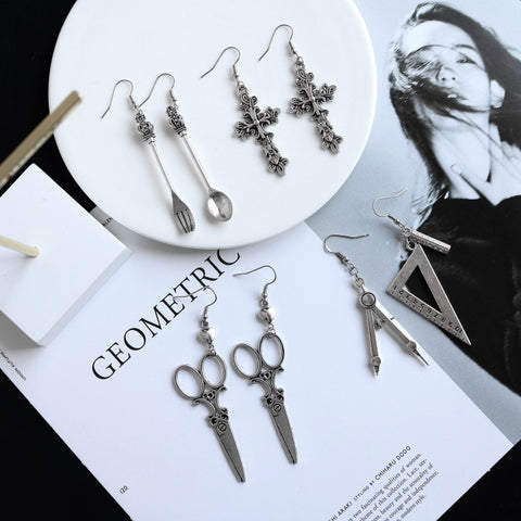 SPOON FORK TRIANGLE RULER STRAIGHT EDGE SCISSORS EARRINGS SET (4 Pairs)