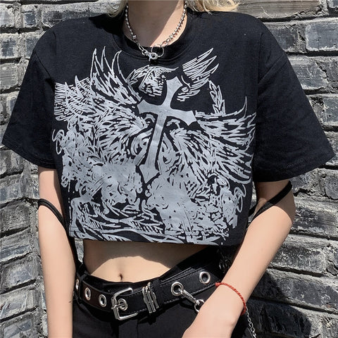 HARAJUKU CROSS PRINT CROP TOP