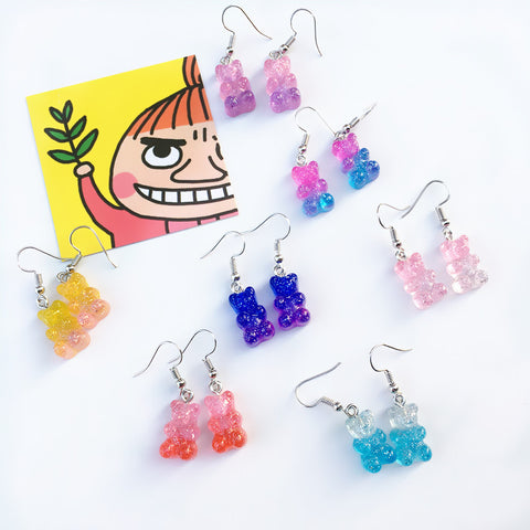 GRADIENT CANDY BEAR EARRINGS (7 Pairs)