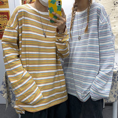 JAPANESE LOOSE STRIPED LONG SLEEVE SHIRT