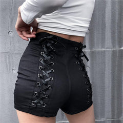 LACE UP STITCHING HIGH WAIST SHORTS