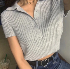 THREADED POLO COLLAR KNIT CROP TOP