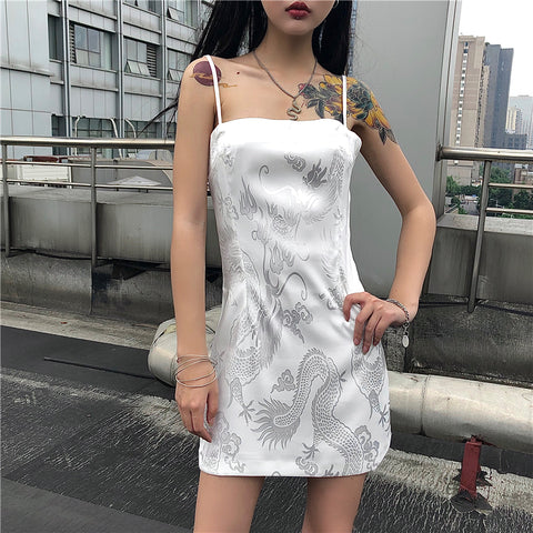 DRAGON PRINT SLING DRESS