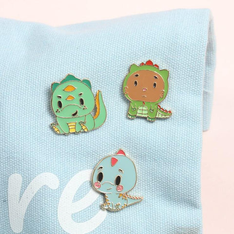 CARTOON LITTLE DINOSAUR BROOCH (SET/3PCS)