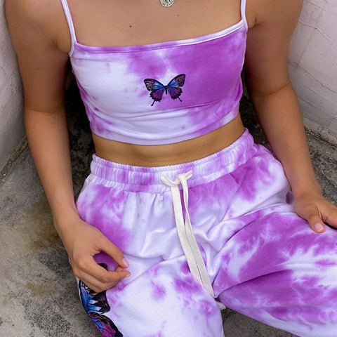 PURPLE TIE DYE BUTTERFLY VEST & PANTS