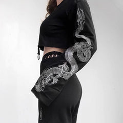 DRAGON PRINT SLEEVE CROP SWEATSHIRT