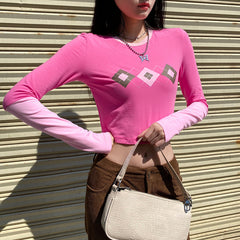 TONE PINK ARGYLE LONG SLEEVE CROP TOP