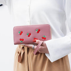 CHERRY EMBROIDERED LONG WALLETS