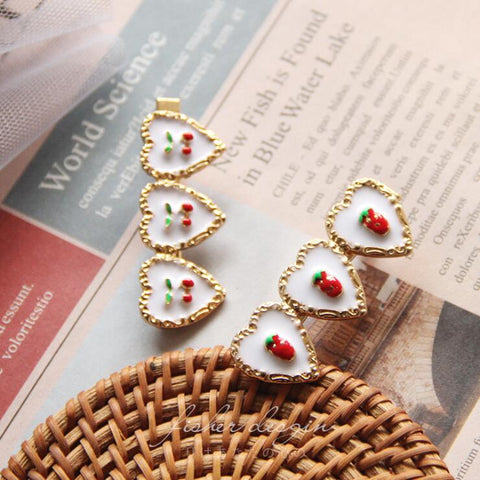 STRAWBERRY CHERRY HEART HAIR CLIP (2 PCS)