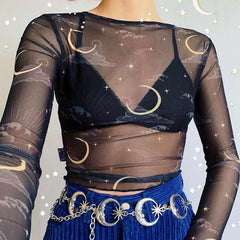 SUN OR MOON PRINT MESH LONG SLEEVE TOP