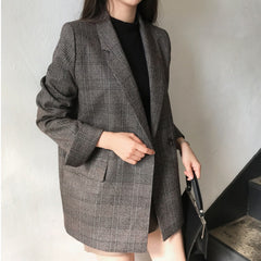 CHIC RETRO BRITISH PLAID SUIT COAT