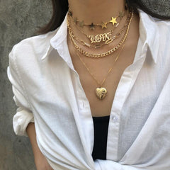 VINTAGE OPEN HEART STAR LAYERED NECKLACE