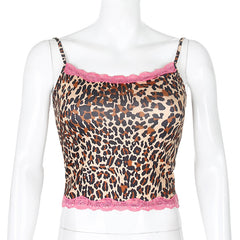 LEOPARD PRINT STITCHING LACE CAMISOLE