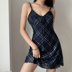 BOW TIE MESH SLING PLAID DRESS