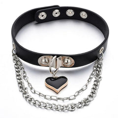 LEATHER HEART PENDANT MULTILAYER CHAIN CHOKER